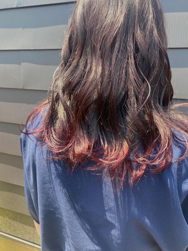 ピンクブラウン×裾カラーピンク